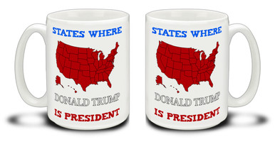 "Donald Trump supporters are a special breed! Get ready to Make America Great Again with this durable, dishwasher and microwave safe red Donald Trump mug . Big 15-ounce ceramic coffee mug has comfortable 4-finger handle. PLEASE NOTE: By default any text added will be in the red script font found in the words ""IS PRESIDENT""."