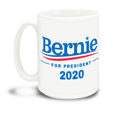 Never give up the good fight with this  Bernie logo mug. Durable, dishwasher and microwave safe big 15-ounce Bernie Sanders logo ceramic coffee mug with comfortable 4-finger handle. #berniewouldhavewon #berniesanders #bernie2020 #dontblameme #notmypresident