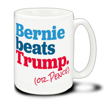 Bernie Beats Trump - 15 Ounce Coffee Mug