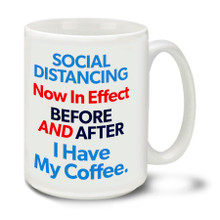 In these uncertain times one thing is for sure, Americans are tough and resilient! Find a little humor and bash the corona virus COVID-19 bug with this durable, dishwasher and microwave safe 15-ounce funny before and after java themed ceramic coffee mug with comfortable 4-finger handle.