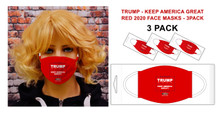 PACK OF 3 FACE MASKS. In these uncertain times one thing is for sure, Americans are tough and resilient! Keep showing support for Trump with this new 2020 Keep America Great Face Mask in red.