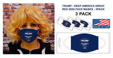 PACK OF 3 FACE MASKS. In these uncertain times one thing is for sure, Americans are tough and resilient! Keep showing support for Trump with this new 2020 Keep America Great Face Mask in Blue.