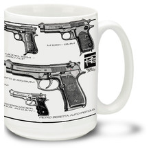 Beretta Semi-automatic pistols are the choice of marksmen, sportsmen and the military worldwide. A Beretta mug and some hot coffee is a great start to your day! Beretta Coffee mug holds 15oz and is dishwasher and microwave safe,