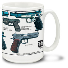 CZ 75 Pistol coffee mug. CZ75 mug is dishwasher and microwave safe and holds 15 ounces.