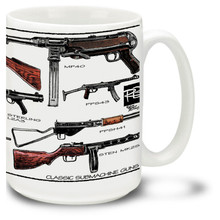 Classic Submachine Gun coffee mug. Many different Classic Submachine Guns adorn this Submachine Gun mug!