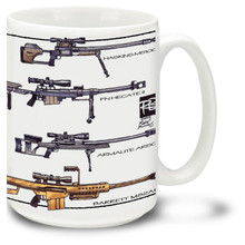 The M2 Machine Gun coffee mug...! 15 oz. Browning .50 Caliber Machine Gun mug is dishwasher and microwave safe.