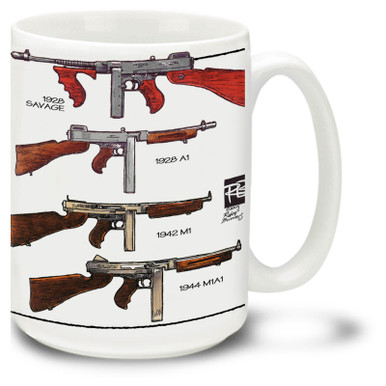 Thompson submachine gun coffee mug. Get a Tommy Gun mug! Enjoy coffee in this authentic Thompson machine gun mug.