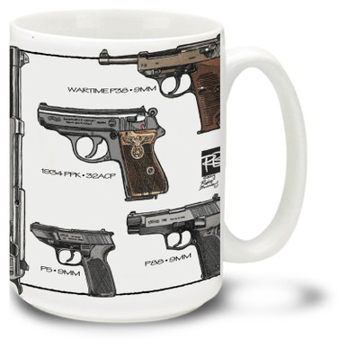 Walther pistol coffee mug. Walther pistol mug is dishwasher and microwave safe.