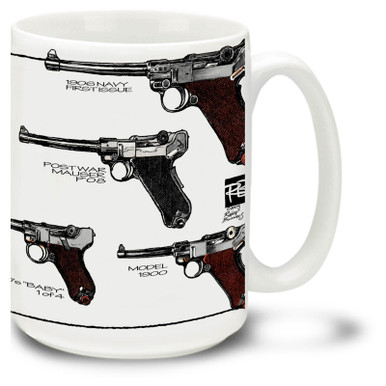 Luger P08 Pistol Parabellum looks great on a coffee mug. Luger mug is 15 oz. Luger Pistol coffee mug is also dishwasher and microwave safe.