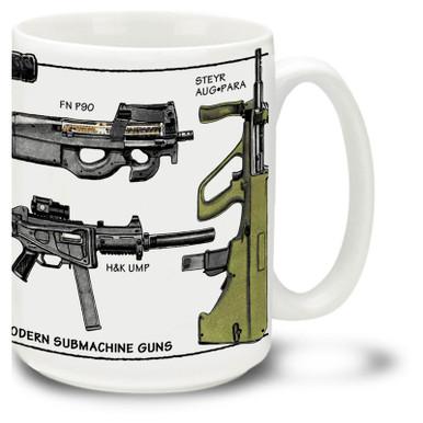 Modern Submachine Gun coffee mug. Modern Submachine Guns mug is dishwasher and microwave safe.