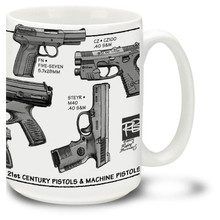 Want a Glock mug? How about a Steyr coffee mug or a Beretta mug? Also a Springfield coffeemug, a Walther mug and Heckler & Koch coffee mug all rolled into one! This innovative modern pistols mug showcases the best of modern hand gun technology.