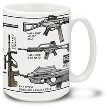 Modern Assault Rifle coffee mug features many modern personal defense weapons. Modern Assault Rifle mug is dishwasher and microwave safe.
