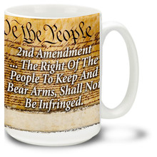 Second Amendment coffee mug celebrates this important part of the United States Constitution. Second Amendment mug is dishwasher and microwave safe. Show support with this 2nd Amendment mug and have your coffee with two tablespoons of American pride!