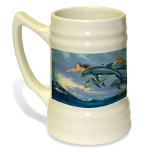 Chasing the Wind Mermaid and Dolphins - 22oz. Stein