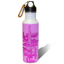 Exercise and Fitness Word Cloud in Pink - 22oz. Stainless Steel Water Bottle