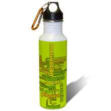 Exercise and Fitness Word Cloud in Green Earthtones - 22oz. Stainless Steel Water Bottle