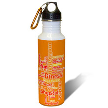 Exercise and Fitness Word Cloud in Sunny Orange - 22oz. Stainless Steel Water Bottle