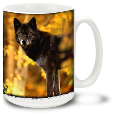 Bright orange autumn colors surround this wolf on the hunt. By reknowned wildlife photographer Gary Crandall. 15oz coffee mug