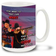 Show your enthusiasm for guns and the second amendment with this dynamic coffee mug featuring two all Americans defending their right to bear arms against a patriotic U.S. flag background.-