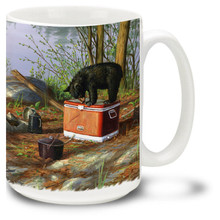 Enjoy these playful bears as they forage for food in this charming camping scene.