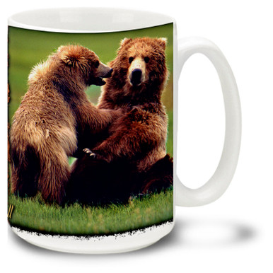Enjoy these fun bears in this playful pose on this quality coffee mug.
