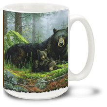 Sleepy bears relax in this lovely woodland scene.