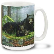 Sleepy bears relax in this lovely woodland scene.