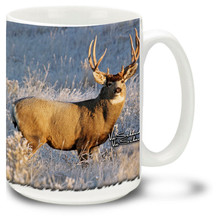 Mule Deer Buck Early Morning Snow - 15oz. Mug