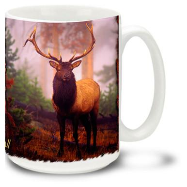 Beautiful Blue Elk against a beautiful scenic backdrop.