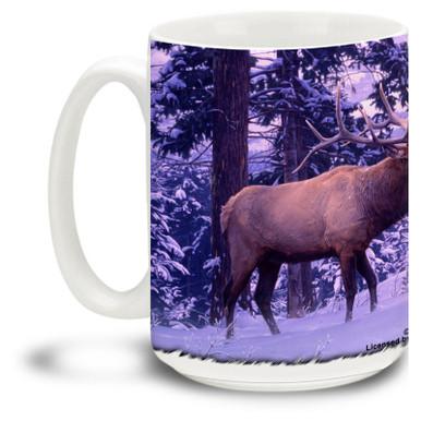 Majestic Elk against a  beautiful snowy scene.