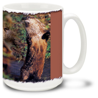 Cute Otter against a woodland background.
