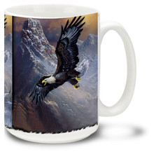 Majestic Eagle soaring high over a raging river.