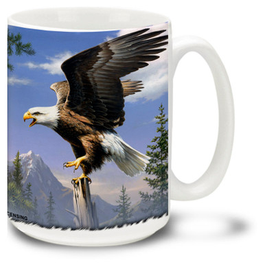 Majestic Eagle against a mountain background.