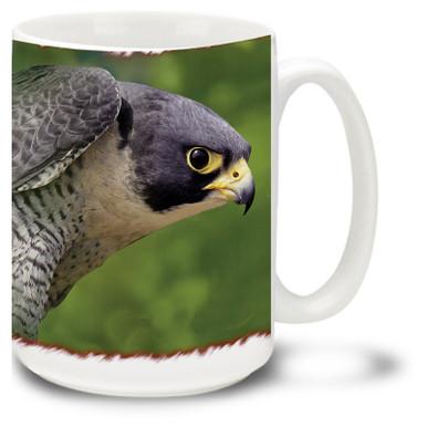 Majestic Falcon against a scenic background.