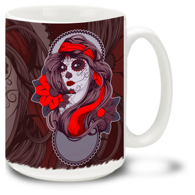 Sugar skull face paint makes the Day of the Dead celebration fun for all ages. Enjoy your morning coffee in this colorful mug.