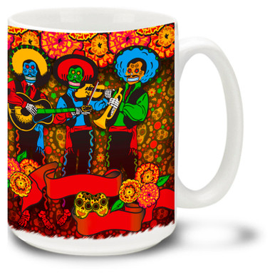 Let the party begin with this vivid sugar skull and skeleton mariachi band mug celebrating the Day of the Dead!