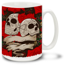 Tattoo style roses and skulls make this mug a great Day of the Dead item! Customize it with your name or saying for only $3.