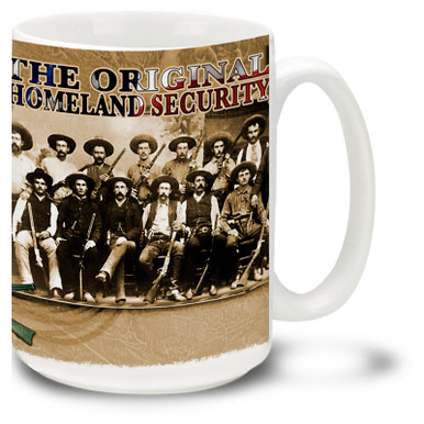 America's Original Homeland Security Texas Rangers mug, featuring Texas Rangers from the early days of the west, armed with Winchester 1873 rifles - the Gun that Won the West! Original Homeland Security Texas Rangers coffee mug is 15oz., dishwasher and microwave safe.