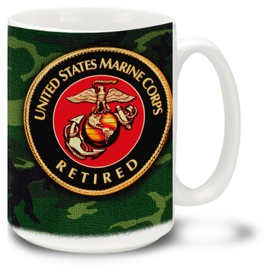 United States Marine Corps Retired on Woodland Camo coffee Mug shows your old school pride. USMC Retired mug features official Marines emblem.
