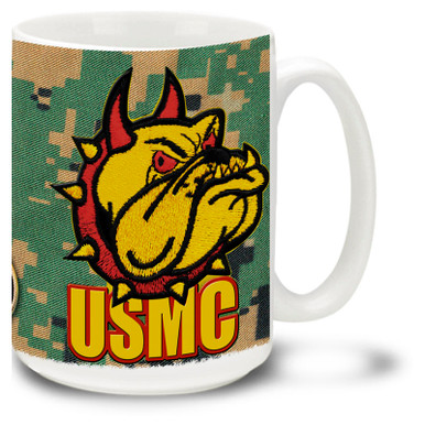 United States Marine Corps coffee mug with Marines Devil Dog mascot. This Marines mug features official USMC emblem.