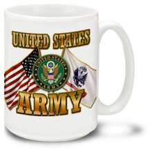 United States Army Cross Flags coffee mug with United States and U.S. Army Flags and featuring official Army Emblem. Army mug is dishwasher and microwave safe.