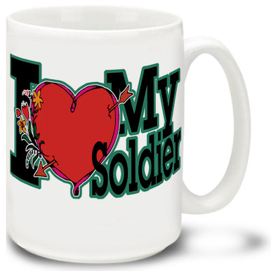 I Love My Soldier coffee mug shows you are proud of your soldier! I Love My Soldier mug is dishwasher and microwave safe.