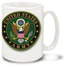 United States Army emblem coffee mug has official U.S. Army insignia on white background. United States Army emblem mug is dishwasher and microwave safe.