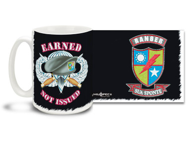 United States Army Rangers Earned Not Issued coffee mug has bayonet and paratrooper wings with official insignia. U.S. Army Ranger mug is dishwasher and microwave safe.
