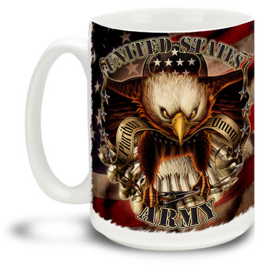 United States Army Eagle on American Flag coffee mug shows a bold eagle and red, white and blue flag. Patriotic Army mug is dishwasher and microwave safe.