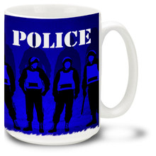 Police Mug featuring peace officers in full riot gear and Police stencil! Police Coffee Mug is dishwasher and microwave safe.