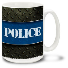 Police Thin Blue Line Mug featuring Police stencil on rugged diamond steel background! Police Thin Blue Line Coffee Mug is dishwasher and microwave safe.