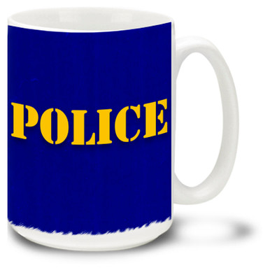 Police Mug featuring Police stencil against rugged weathered blue background! Police Coffee Mug is dishwasher and microwave safe.