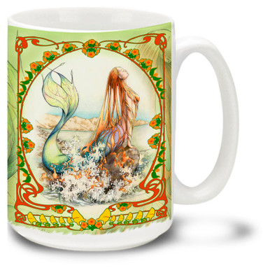 Beautiful Mermaid Mug featuring art nouveau stylings and vivid colors. Mermaid Coffee Mug which is dishwasher and microwave safe. Personalize it with your name!