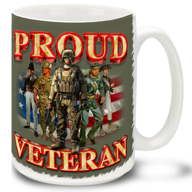 Proud Veteran Heritage on American Flag background is a great Veteran coffee mug. This Veteran's mug is dishwasher and microwave safe.
